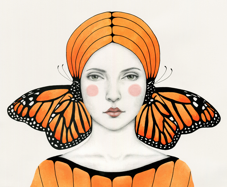 monarch butterfly girl in orange